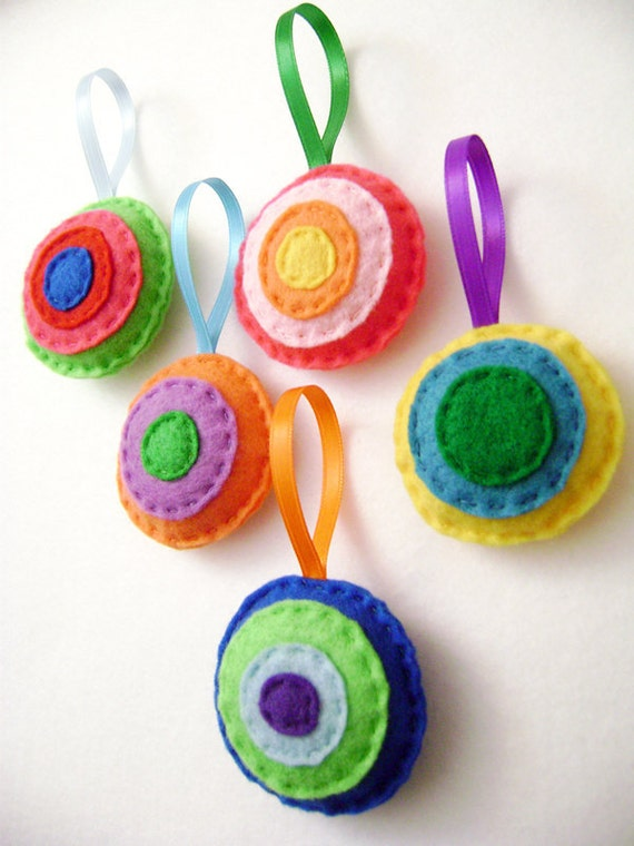 Christmas Ornament Set - Cheery Christmas - Felt Hand Stitched Holiday Decor