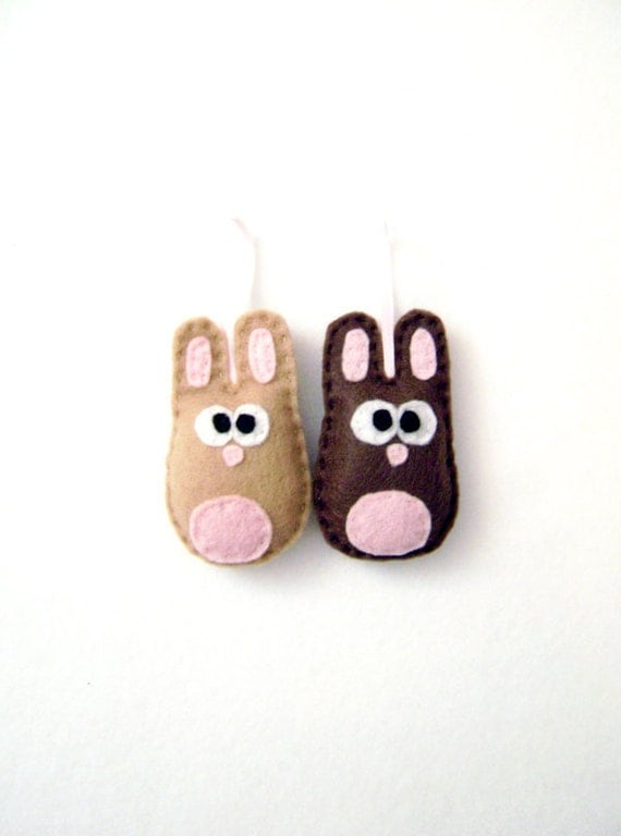 Rabbit Ornament, Felt Bunny Ornament Set - Beth and Nelly the Baby Bunnies - Made to Order, Woodland Decor, Nursery Decoration
