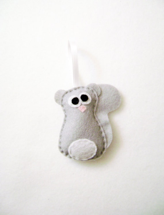 Squirrel Ornament, Felt Christmas Ornament, Leopold the Baby Gray Squirrel - Made to Order, Felt Animal, Christmas Ornament, Felt Decoration