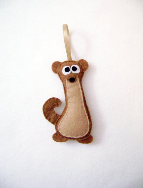 Weasel Ornament, Christmas Ornament, Vinnie the Weasel, Holiday Decoration, Felt Animal