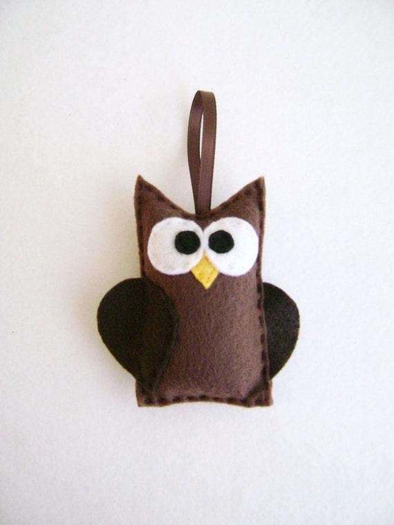 Owl Ornament, Christmas Ornament, Ornament, Bob the Brown Owl, Teacher Gifts, Woodland Animal, Bird, Felt Animals