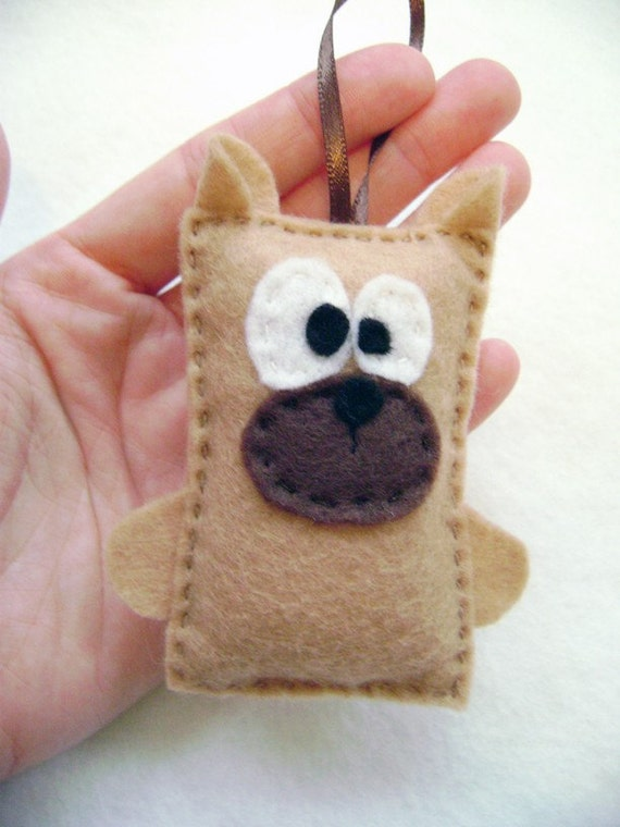 Lionel the Tan Dog Ornament - Felt Holiday Tree Ornament