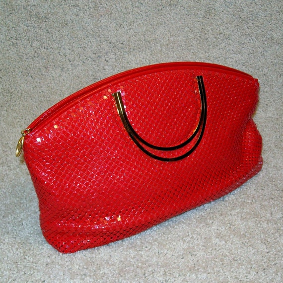 Lipstick Red Metal Mesh Clutch/Handbag . NOS . 1980s