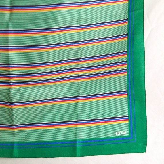 """Echo Green Stripes of Color Square Scarf 27"""" x 27"""" 1970s 1980s"""
