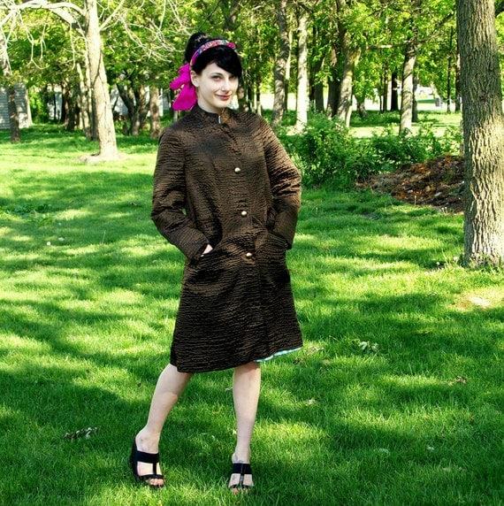 Knee Length Vintage Raincoat Rain Paka Traveler  RESERVED for XTINA LAMB  Dark Chocolate Brown Color Jackie O Mad Men 1960s