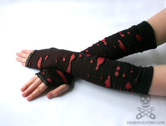 Zombie Apocalypse shredded armwarmers fingerless gloves - smarmyclothes horror punk diy