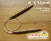 Chunky Micro-length US 19 Circular Knitting Needles from TrickyKnits - 14 inch - bamboo with plastic tubing (15mm)