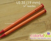 "US 35 Straight Knitting Needles -  Susan Bates 14"" lightweight and smooth plastic (19mm)"