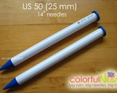 "US 50 Straight Knitting Needles -  Susan Bates 14"" lightweight and smooth plastic (25mm)"