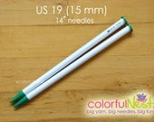 """US 19 Straight Knitting Needles -  Susan Bates 14"""" lightweight and smooth plastic (15mm)"""