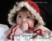 Funky Handknit Baby Hat for Valentine's Day in Holly Berry GIFT or PHOTOGRAPHY PROP