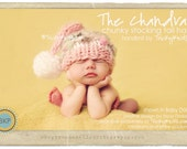 Baby girl hat newborn photography prop or  gift - chunky stocking tail handknit hat the Chandra in NEW COLORS baby pink and gray