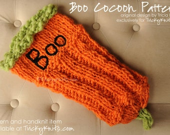 Halloween Cocoon Knitting Pattern for Newborn Photo Prop or Baby Gift - the Boo Cocoon Easy DIY Knitting Pattern for October Babies