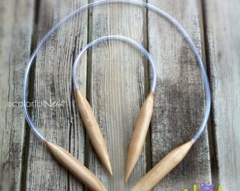 US 35 or US 36 Circular Knitting Needles - 20 24 30 32 36 40 inch - bamboo with plastic tubing (19mm) - any size any length available