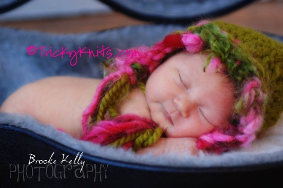 NEW ORIGINAL DESIGN Dashing Through the Snow Funky Chunky Hat in Chartreuse and Hot Pink Newborn Gift or Professional Photography Prop - HOLIDAY, BOY AND NEUTRAL VERSIONS AVAILABLE TOO