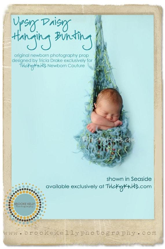 Hanging Bunting Photo Prop Handknit Baby Hammock Sling Cocoon Newborn Boy Infant Photo Prop Upsy Daisy in Neutral Seaside Blue LAST ONE