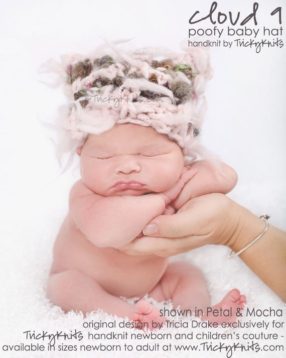 Baby Girl Hat Cloud 9 Newborn Photo Prop Poofy Pink and Mocha Handspun Yarn Childrens Toddler Hat by TrickyKnits