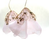 Pale Pink Knitted Wire Blossom Earrings - Dangle Earrings in Rose