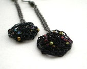Midnight Tangles - with Myuki seed beads - Long or Short Dangling Earrings -  Black or Pick Your Color