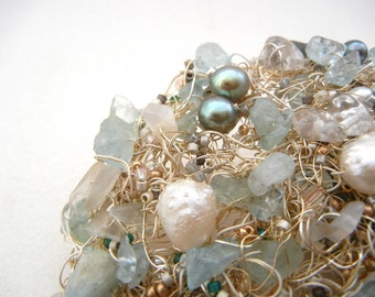 One Blue Day in Spring - Exquisite, one-of-a-kind brooch in a dozen shades of sky