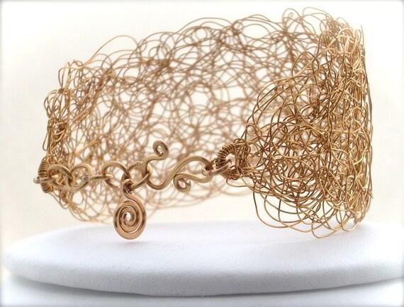 Rumpelstiltskin's Bracelet - Intricate and Golden, Knitted and Woven Wire Cuff - Slender Width