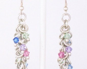 Argentium Silver Chainmaille Earrings - Shaggy Loops