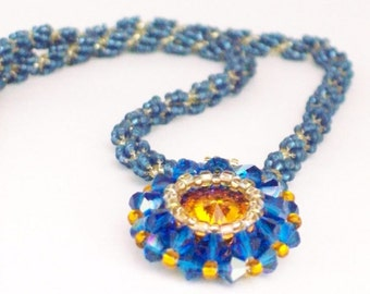Topaz Rivoli Beadwoven Necklace