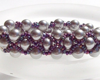 Glass Pearl and Seed Bead Bracelet - Right Angle Weave