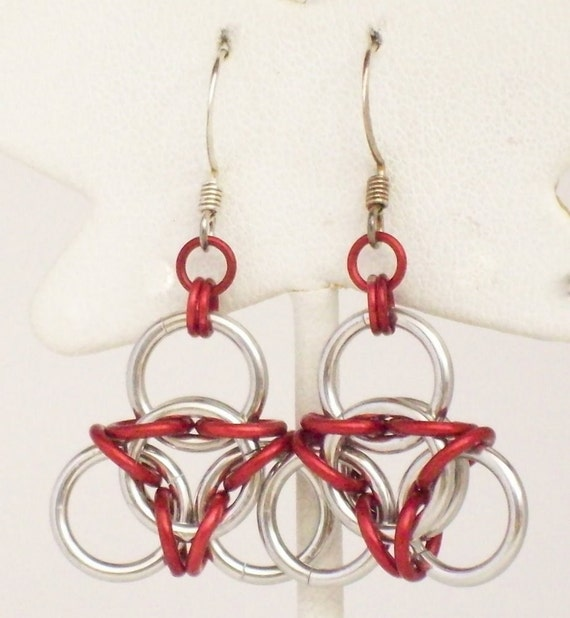Aluminum Inverted Aura Chainmaille Earrings