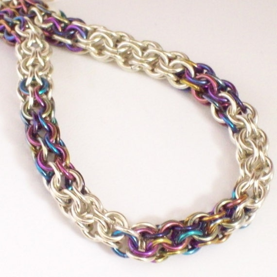 Niobium and Silver Chainmaille Bracelet