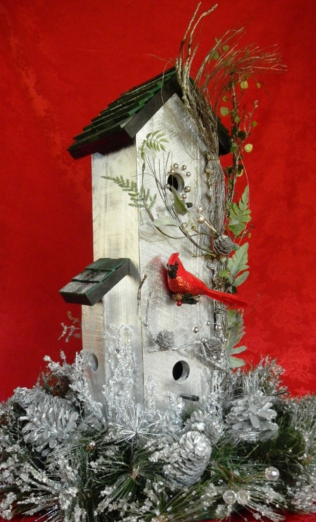 Bird House Rustic Christmas Wreath 258