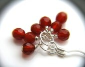 Red Stone Earrings . Dainty Earrings . Red Agate Earrings . Small Hoop Earrings . Red Dangle Earrings - Goji Collection . Trio