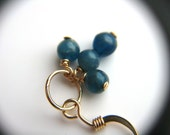 Blue Apatite Earrings . Blue and Gold Earrings . Small Gemstone Cluster Earrings . Tiny Hoop Earrings - Acai Palm Collection . Trio