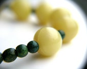 Olive Jade Green Turquoise Necklace . Natural Gemstone . Simple Beaded Strand . Round Bubble Orbs - Kukicha Collection . The Galaxy Series
