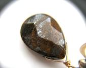 SALE 50% Off - Natural Stone Earrings . Gold Teardrop Earrings . Earthy Earrings . Tiger Iron Wire Wrapped Earrings Jewelry - Morocco