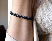 Midnight Indigo Blue Freshwater Pearl Beaded Bracelet . Dancing Pearl Bracelet . June Birthstone Jewelry . Toggle Clasp - Elektra Collection