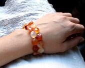 Orange Stone Bracelet . Red Agate Teardrops . Natural Gemstone . Beaded Cuff - Adirondack Collection