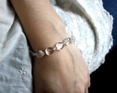 RESERVED Clear Quartz Rock Crystal Beaded Bracelet . April Birthstone . Faux Diamond Flat Smooth Teardrops - Shimmer Collection