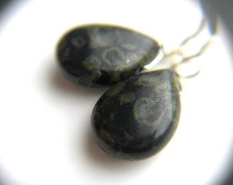 Black Teardrop Earrings . Crystals for Strength Jewelry . Black Dangle Earrings . Leopard Skin Jasper Earrings Stone- Harlequin Collection