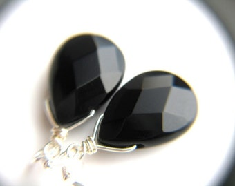 Black Onyx Earrings . Silver Black Earrings . Black Bridesmaid Jewelry Sets . Black Teardrop Earrings . Black Dangle Earrings - Black Swan