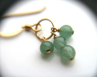 Dainty Gold Earrings . Green Gemstone Earrings . Tiny Hoop Earrings . Green Aventurine Earrings . Green Stone Earring - Oz Collection . Trio
