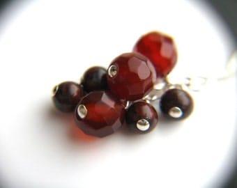 Red Stone Earrings . Red Dangle Earrings . Red Jasper Earrings . Red Agate Earrings Cluster . Red Stone Earrings - Goji Collection . Duet
