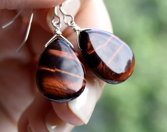 Red Tiger Eye Earrings . Brown Stone Earrings . Tigers Eye Jewelry . Silver Wire Wrapped Gemstone Tear Drop Earrings - Bagheera Collection