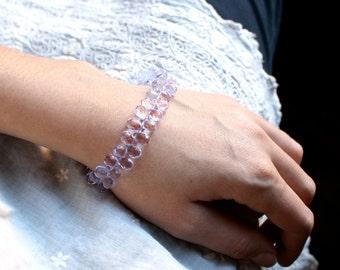 50% OFF SALE - Purple Quartz Crystal Tennis Bracelet . Light Purple Bracelet . Purple Briolette Bracelet . Teardrop Bracelet - Athena