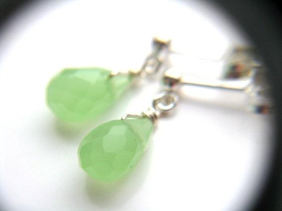 Mint Green Earrings . Tiny Dangle Earrings . Lime Green Earrings . Silver Wire Wrap Earrings . Jade Green Earrings - Fresco