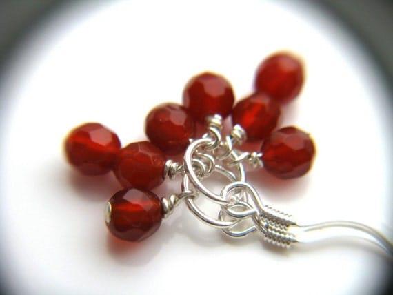 Red Gemstone Earrings . Red Agate Earrings . Silver Wire Wrapped Earrings Hoop . Small Hoop Earrings with Beads - Goji Collection . Trio