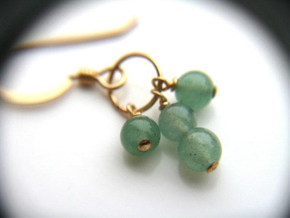 Dainty Gold Earrings . Green Gemstone Earrings . Tiny Hoop Earrings . Green Aventurine Earrings . Green Stone Earring - Oz Collection . Trio