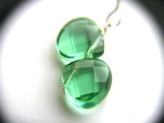50% OFF SALE - Emerald Green Earrings . May Birthstone Earrings . Kelly Green Earrings Sterling Silver - Enchanted Collection