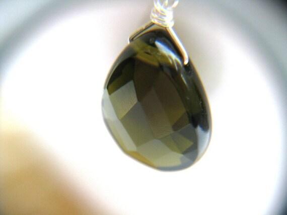 Green Teardrop Earrings . Sterling Silver . Dark Green Earrings . Large Faceted Stone Briolette Earrings - Shades of Green Collection