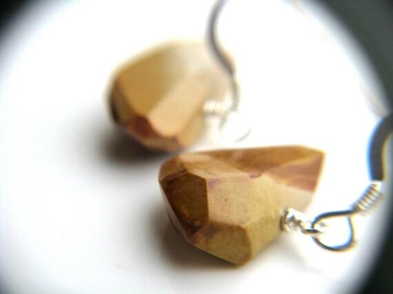Rough Cut Geometric Earrings . Raw Nugget Earrings . Sterling Silver . Brown Burnt Wood Earrings - Owl Head Collection